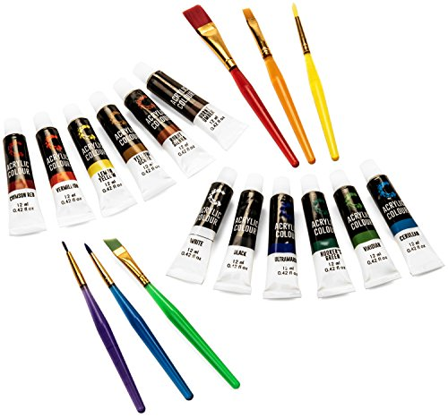 acrylic paint set brushes with rich pigments in 12 vivid