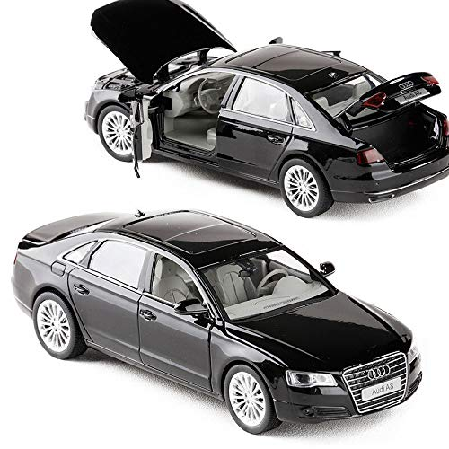 modelcars 1:32 Scale Collection Luminous Pullback Black Xmas Gift Audi A8 Diecast Model Car Toy (Audi Set A8)