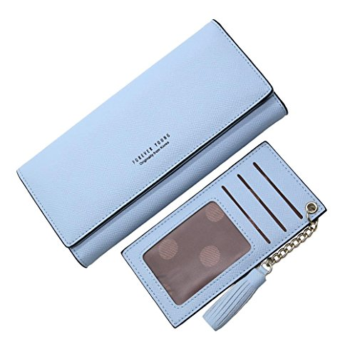 Womens Wallet Blue (Wallets for Women, Slim Clutch Long Leather Purse Lady Checkbook Credit Card Holder with a Removable Card Slot (A-Light blue))