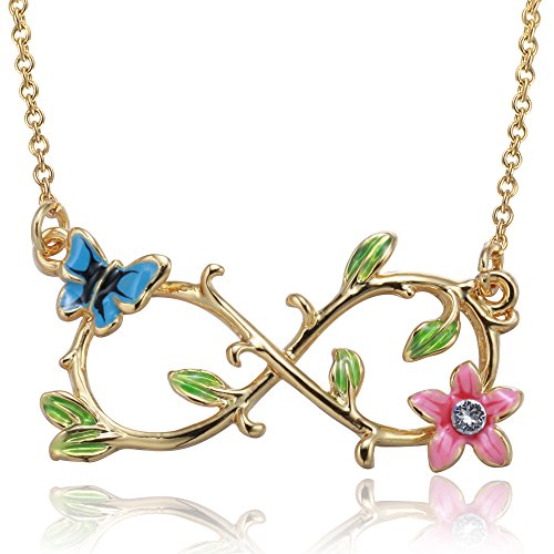 - Angelady Be with You Forever Gold Plated Infinity Link Bracelet Girls Pendant Neckalce (Necklace-Rose Gold Plated)
