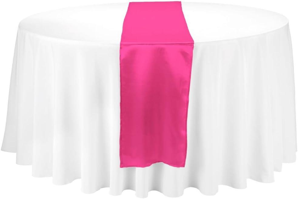 LinenTablecloth 14 x 108-Inch Satin Table Runner Fuchsia