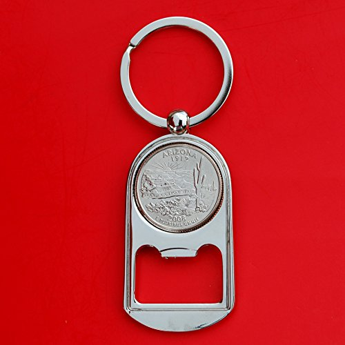 (US 2008 Arizona State Quarter BU Uncirculated Coin Silver Tone Key Chain Ring Bottle Opener NEW)
