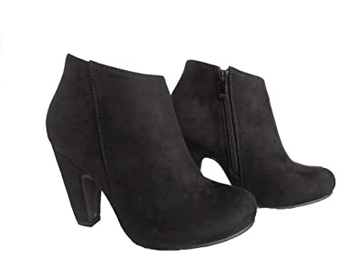 Countless-1 Womens Faux Nubuck Suede High Heel Ankle High Fashion Booties Black