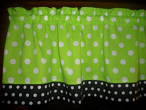 Lime Green Black Polka Dot kitchen bedroom bathroom fabric window curtain topper Valance (Curtains Green And Black Lime)