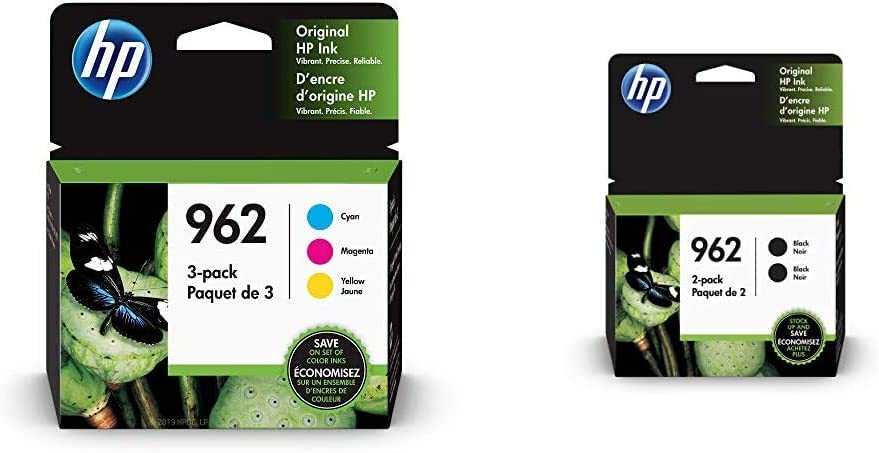 HP 962 | 3 Ink Cartridges | Cyan, Magenta, Yellow | 3HZ96AN, 3HZ97AN, 3HZ98AN & 962 | 2 Ink Cartridges | Black | 3HZ99AN