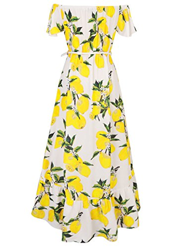 Vintage retro mujeres damas florales de hombro Maxi Swing Party Evening vestido largo Blanco