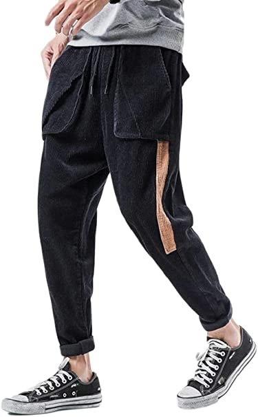 CYJ-shiba Men Corduroy Pockets Cargo Pant Elastic Waist Loose Trousers Jogger Pants