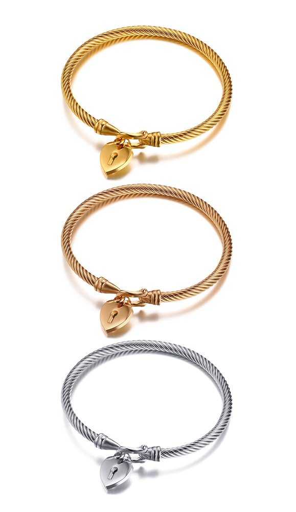 4544d687cb434 Mealguet Jewelry Fashion Stainless Steel Triple Three Stackable Cable Wire  Twisted Cuff Bangle Bracelets Set for Women (Style 5)