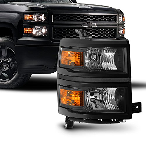 For 2014 2015 Chevy Silverado 1500 Pickup Truck Black Bezel OE Replacement Headlight Lamp (Passenger Right Side only)