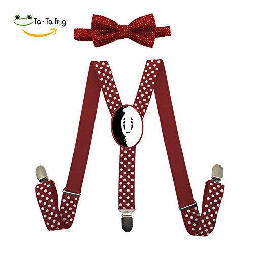 Slender Man Costume Kid (Slender Man No-Face Adjustable Suspenders Y-Back Suspender Bow Tie Bowknot Set Unisex Red Blue Black)
