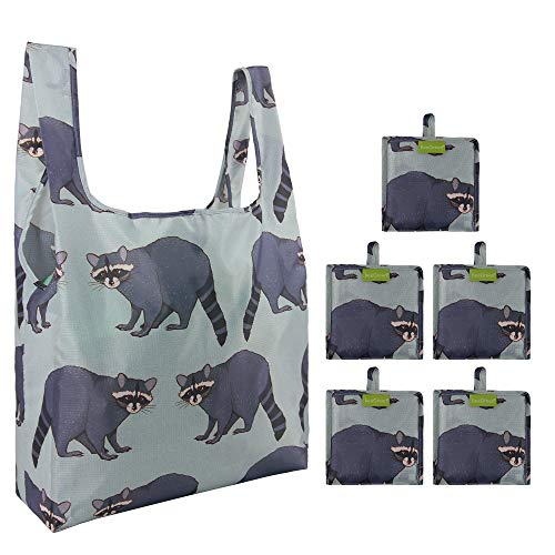 Reusable Grocery Shopping Bags Foldable Bags 5 Pack 50LBS Ripstop Cute Raccoon Fashion Gift Bags Reusable Shopping Totes Eco Friendly Machine Washable Waterproof Lightweight Gray ...