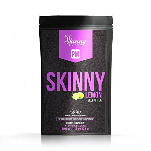 Skinny Bunny Lemon PM Weight Loss Detox Tea, Manage Weight, Support Immune System, Healthy Cleanse, Promote Health with Antioxidants w/ 7 Day Detox Plan eBook (14 Day Supply) (Fat Loss Support Formula)