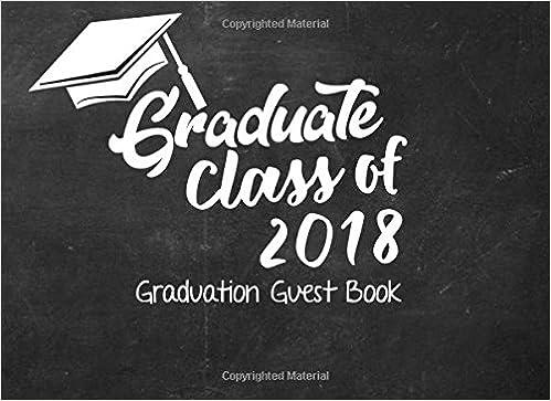 graduate class of 2018 graduation guest book black chalkboard