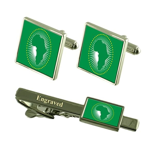 African-Union-Flag-Cufflinks-Engraved-Tie-Clip-Matching-Box-Set