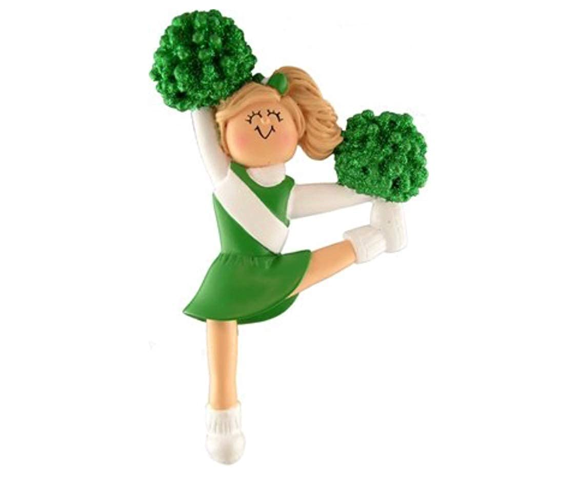 Ornament Central Cheerleader Ornament Green Uniform Blonde