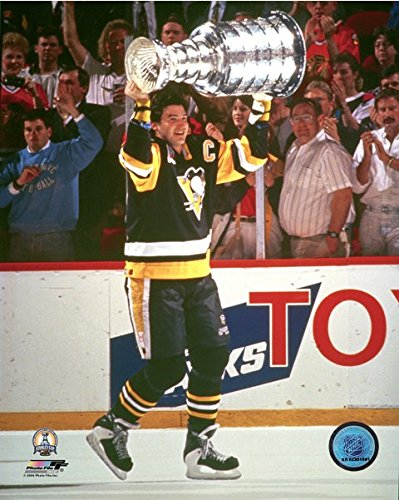NHL Mario Lemieux Pittsburgh Penguins Stanley Cup Photo (Size: 8