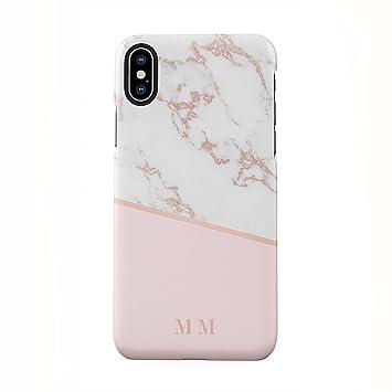 Personalised Rose Gold Marbre Initiales Custom Letters Coque Housse Etui De Protection En Plastique Rigide Pour Iphone X Case Hard Cover