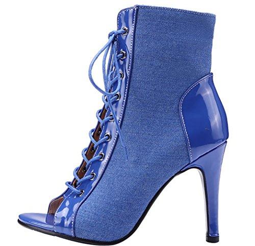 Open Calxdc CM Selbstbindende 5 Damen Calaier 9 Toe Sandalen Blau Stiletto Schuhe Z4SwxZAq