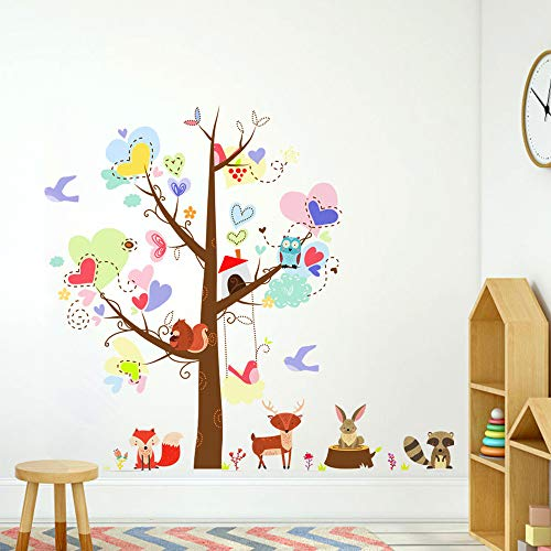Jungle Theme Nursery Wall Decals, Forest Animal Wall Decals for Baby Bedroom,Colorful Owl Racoon Fox Rabbit Tree Decorative Sticker for Baby Bedroom, Playroom Mural
