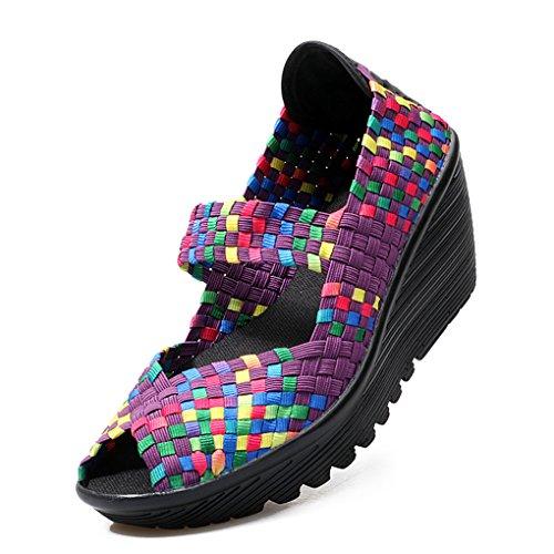 Pump Sandals Platform Purple Ruiatoo Wedge Open Casual Toe Women's Shoes Woven XOvOt1nxqY