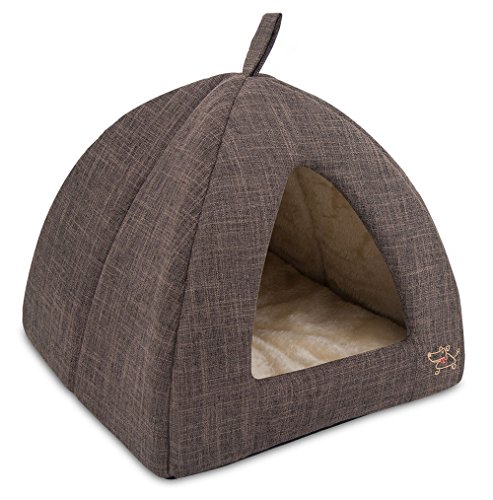 "Best Pet SuppliesPet Tent-Soft Bed for Dog and Cat by Best Pet Supplies - Brown Linen, 19"" x 19"" x H:19"""