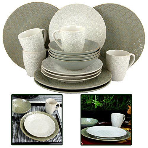 elama Olive Terrace Ivory/Green Stoneware Service for 4 Textured Dinnerware Set (Case of 16) (Olive Dinner Green Plate)