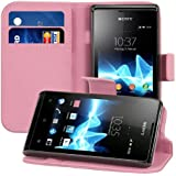 kwmobile Elegant leather case for the Sony Xperia E with magnetic fastener and stand function in Hot Pink