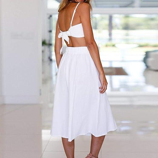 OverDose mujer De Dos Piezas Holiday Bowknot Lace Up Beach Buttons Tops Falda Set Sexy Vestido Blanco: Amazon.es: Ropa y accesorios