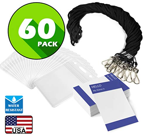 (Waterproof Name tag with Lanyard Swivel J-Hook Clip Kids Name Label School Camp Field Trip Church Business Event Trade Show Conference Badge Holder (Black Vertical, 60 Pack))