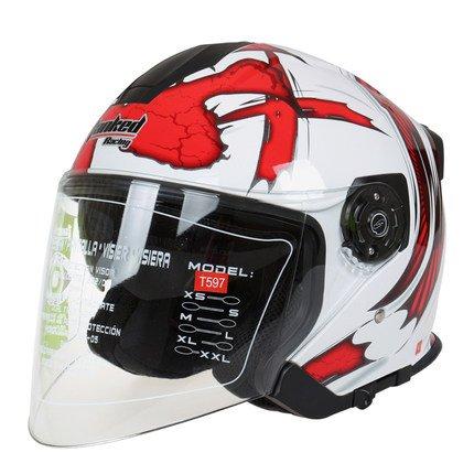 tankedracing597 ハーフタイプヘルメット 半帽 ハーフ ハーフヘルメット おしゃれ bike helmet バイク用品 内装洗濯可能 おすすめ シールド付 レディース メンズ M(57-58CM) カラー8 B074FZHSC3