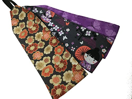 3 Count Kimono Girl Cherry Blossom Butterflies Kawaii Purple Greyt Soft Headband
