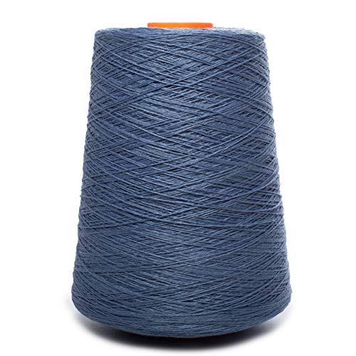 (Linen Yarn Cone - 100% Flax Linen - 1 LBS - Grayish Blue - 3 PLY - Sewing Weaving Crochet Embroidery - 3.000 Yard)