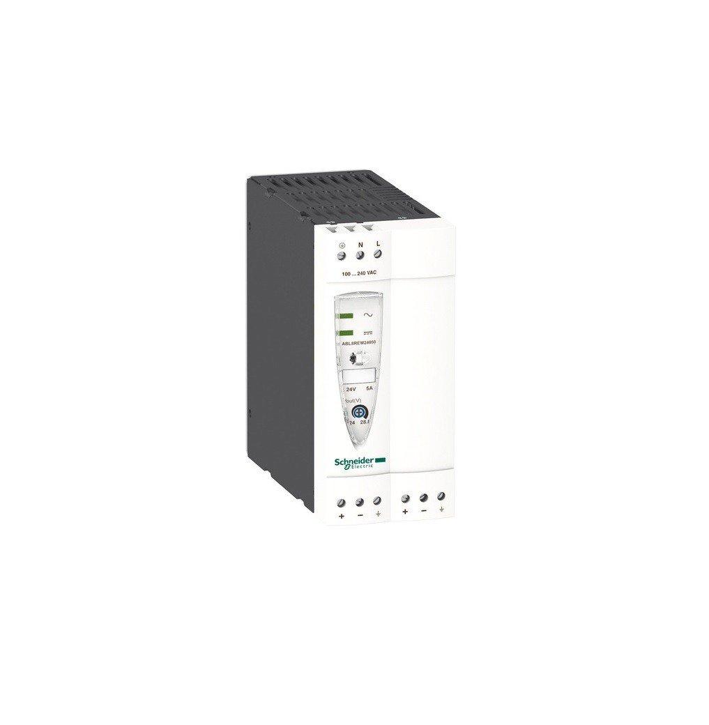 Schneider Electric ABL8REM24050 Alimentation Mode de Commutation Ré gulé e, Mono/Biphasé e, 120 mm Hauteur x 54 mm Largeur x 120 mm Profondeur, 5 A, 100-240VAC, 24VDC Mono/Biphasée