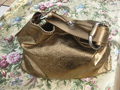 Authentic Gucci Gold Leather Guccissima Horsebit Hobo Large Bag 114900 159847