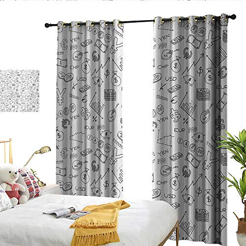 WinfreyDecor Money Thermal Insulated Drapes for Kitchen/Bedroom Monochrome Pattern with Euro Dollar Yen Symbols Coins Piggy Bank Stock Graphs Doodle Privacy Protection W96 x L84