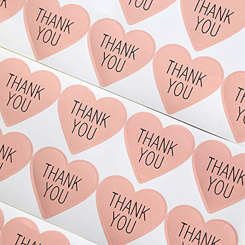 (GANSSIA Heart Design Thank You Printed Gift Seal Sticker Color Pink Pack of 320 Pcs)