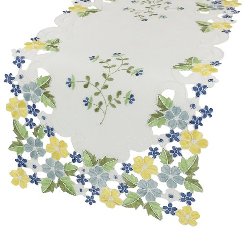 Xia Home Fashions Fancy Flowers Embroidered Cutwork Spring Table Runner, 16 by 34-Inch, Blue (Embroidered Table Runner compare prices)