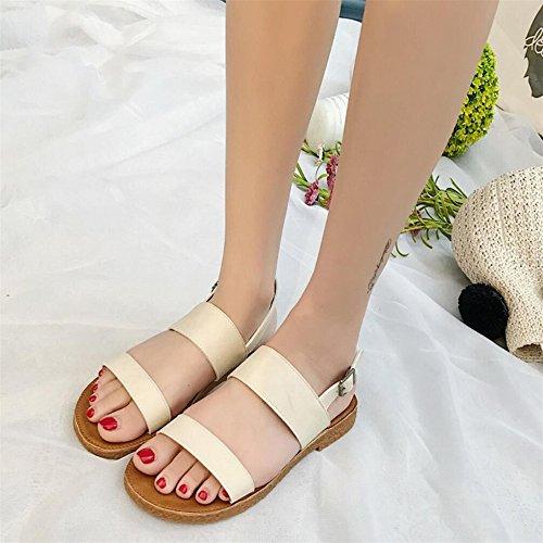 XZGC - Sandalias de vestir de poliuretano para mujer Beige