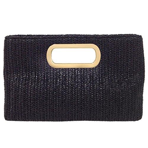Top Handle Straw Clutch, Black Clutch Black Straw Handbags