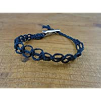Black Loop Hemp Bracelet, Anklet, Choker, or Necklace Men's or Women's - Alligator Clip, Customize Your Size