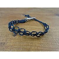 Black Loop Hemp Bracelet, Anklet, Choker, or Necklace Men's or Women's - Alligator Clip, Customize Your Size
