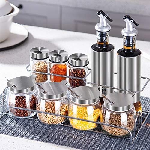 Caja de sazonamiento de vidrio para la cocina Conjunto Caja de condimento para el hogar Salero Agitador Tarro de condimento...