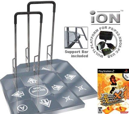2 x Dance Dance Revolution DDR iON Arcade Metal Dance Pad with Handle Bar for PS2 + Dance Dance Revo