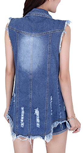 Stevenurr Popular,Hot Sell Women's Mid-long Slim Fit Hole Denim Vest Dark BlueSmall - Macy's Locations