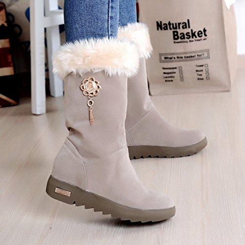Comfort Heel Short Retro Low Womens Boots Faux Beige Fur Carolbar ngqIfaf