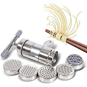 Manuale DIY Noodle Maker Portatile In Acciaio Inox Pasta Maker Noodle Spremiagrumi Pressione Fare Macchina con 5 Modelli