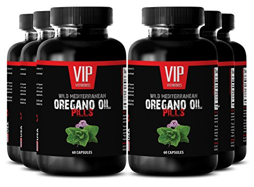 Oregano herb - Wild Mediterranean Oregano Oil 1500mg - Relief of stress related herbal supplement - 6 Bottles 360 Capsules by VIP VITAMINS