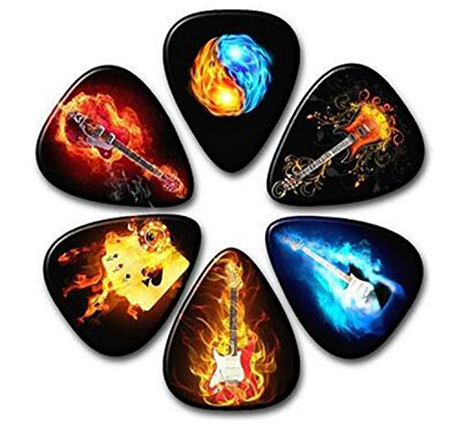 HUNDUN 12 Pack Colorful Guitar Picks Unique Guitar Gift For Bass Electric & Acoustic Guitars Different thin 0.46mm 0.71mm 1mm (Color1)