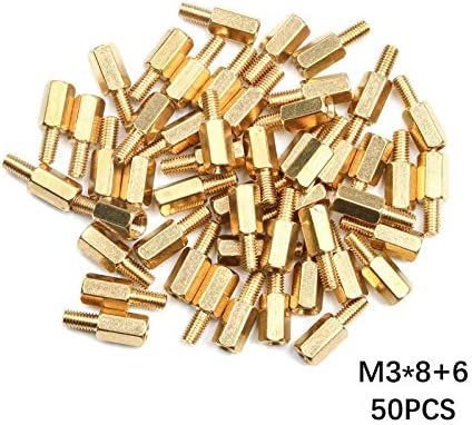 Color : 12mm, Size : M3 LYBM 50Pcs//Lot Hex Head Brass Spacing Screws M33//4//5//6//8//15//20mm+6mm Threaded Pillar PCB Computer PC Motherboard Standoff Spacer