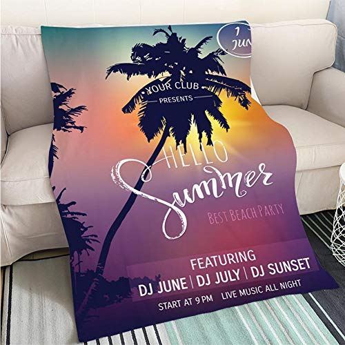 Breathable Flannel Warm Weighted Blanket Hello Summer Lettering Tropical Palms Sunset Background Party Invitation Template Vector Illustration EPS10 Perfect for Couch Sofa or Bed Cool Quilt ()